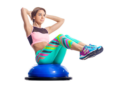 Bosu ball situps workout for the abs